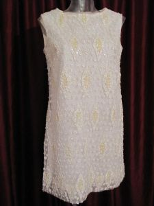 1960's Ivory sparkly beaded swinging sixties wedding dress
